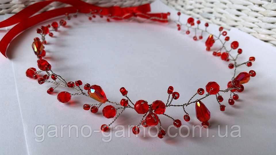 Венок с хрустальными бусинами Красный Украшение в прическу