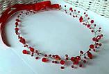 Венок с хрустальными бусинами Красный Украшение в прическу, фото 3