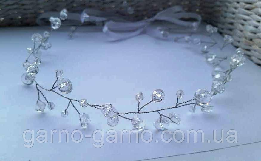 Венок для волос с кристаллами Белый прозрачный блестящий