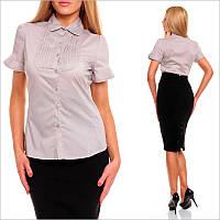 Приталенная женская блузка серого цвета