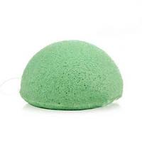 Губка Konjac конняку зелена для вмивання, м'якого пиллинга, масажу
