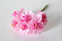 Цветы хризантемы (астры) 6 шт. диаметр 3,5-4 см диаметр розового цвета, фото 1