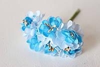Цветы хризантемы (астры) 6 шт. диаметр 3,5-4 см диаметр голубого цвета, фото 1