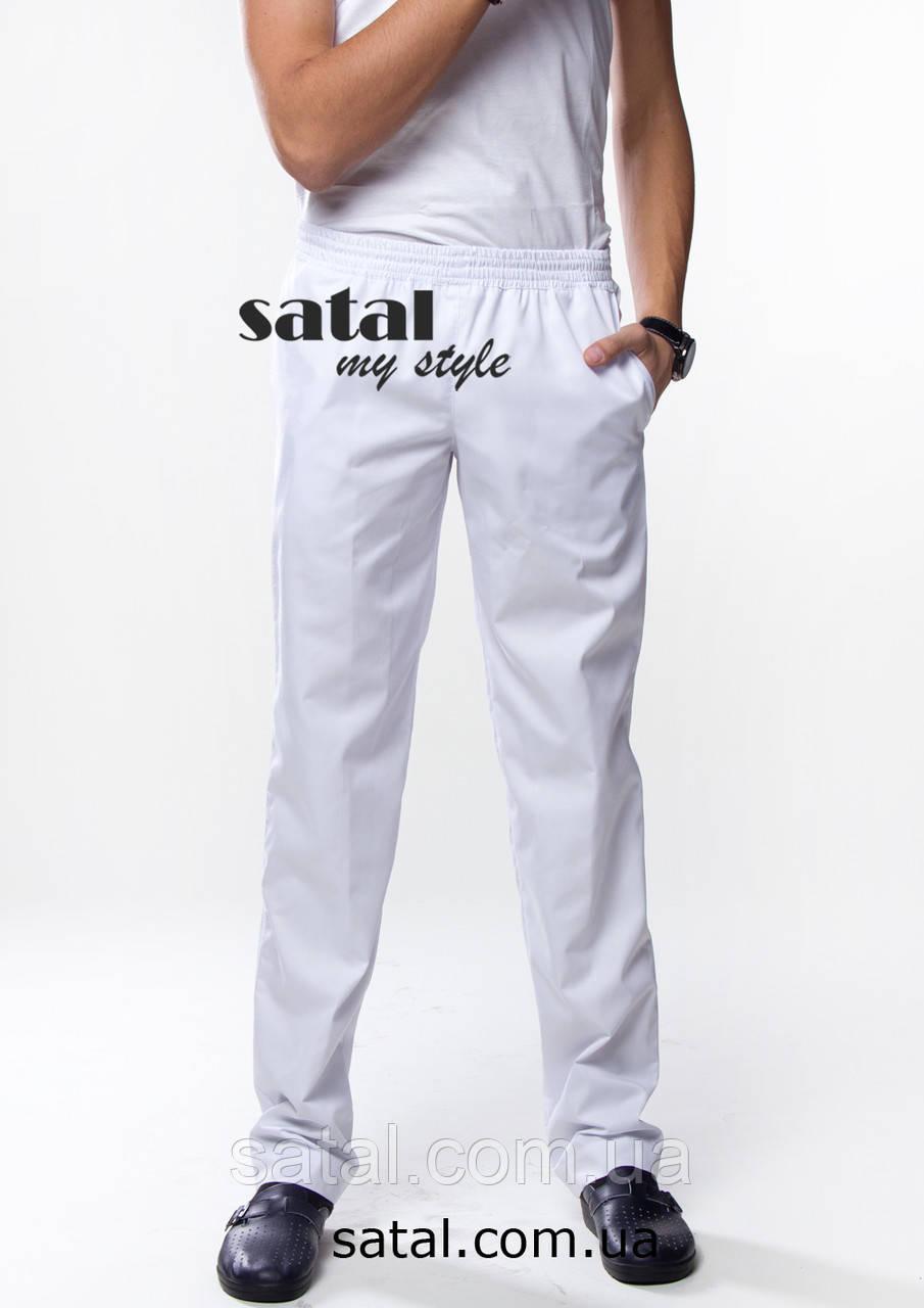 Медицинские брюки для мужчин. Коттон. Белый