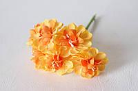 Цветы хризантемы (астры) 6 шт. диаметр 3,5-4 см диаметр оранжевого цвета, фото 1