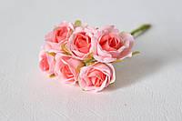 Розочки диаметр 2,5-3 см 6 шт/уп. розового цвета, фото 1