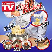 Дуршлаг Решетка для Фритюра Варки Мытья Продуктов Шеф Баскет Chef Basket Складная, фото 1
