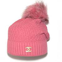 Модная женская вязаная шапка с бубоном Chanel розовая шерстяная брендовая теплая шапочка зимняя Шанель реплика