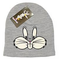 Стильная женская вязаная шапка Moschino bugs bunny серая теплая зимняя модная унисекс бакс банни реплика