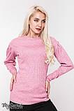 Теплый свитер для беременных GAIA SW-48.111, розовый меланж, фото 4
