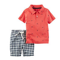 Набор футболка-поло и шорты для мальчика Carters якоря и клетка