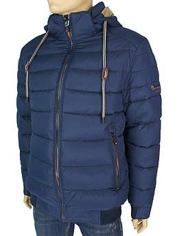 Короткая утепленная мужская куртка Black vinyl C17-1242 C:Cobalt Blue