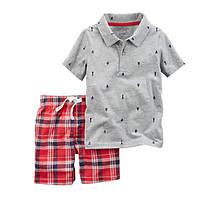 Набор футболка-поло и шорты для мальчика Carters якоря и красную клетку