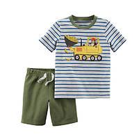 Набор футболка и шорты для мальчика Carters обезьяна на бульдозере