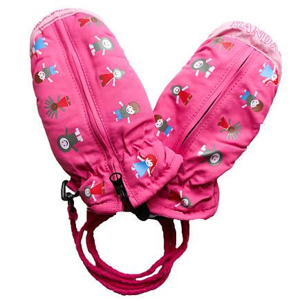 Детские зимние термоварежки для девочки от 1 года до 4 лет розовые, фото 2