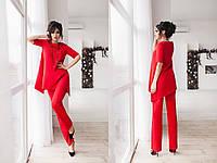 """Брючный женский костюм """"Барби"""" с асимметричной блузой (5 цветов)"""