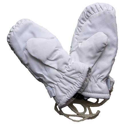 Детские зимние непромокаемые варежки для девочки 1-5 лет белые, фото 2