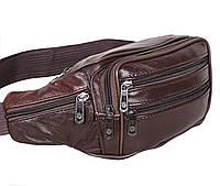 Кожаная сумка на пояс бананка поясная барсетка через плечо мужская женская барыжка коричневая натуральная кожа