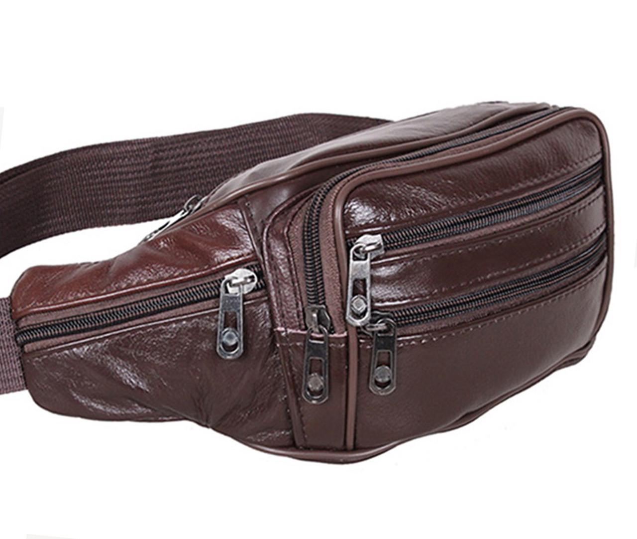 Кожаная сумка на пояс R003 коричневая поясная барсетка через плечо мужская  женская барыжка натуральная кожа ed4250fb14f