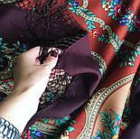 Русские сезоны 948-17, павлопосадская шаль из уплотненной шерсти с шелковой вязаной бахромой  Стандартный сорт, фото 6
