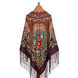 Русские сезоны 948-17, павлопосадская шаль из уплотненной шерсти с шелковой вязаной бахромой  Стандартный сорт, фото 2