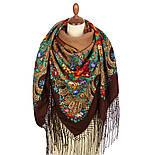 Русские сезоны 948-17, павлопосадская шаль из уплотненной шерсти с шелковой вязаной бахромой  Стандартный сорт, фото 3