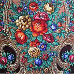 Русские сезоны 948-17, павлопосадская шаль из уплотненной шерсти с шелковой вязаной бахромой  Стандартный сорт, фото 4