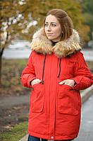 Женский зимняя куртка с натуральным мехом