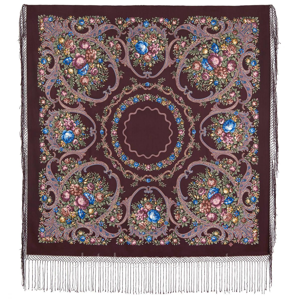 Русские сезоны 948-16, павлопосадский платок (шаль) из уплотненной шерсти с шелковой вязанной бахромой