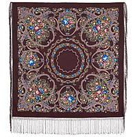 Русские сезоны 948-16, павлопосадский платок (шаль) из уплотненной шерсти с шелковой вязанной бахромой, фото 1