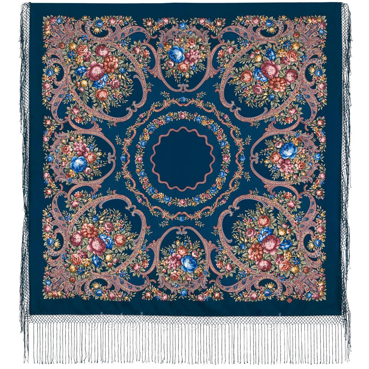 Русские сезоны 948-14, павлопосадский платок (шаль) из уплотненной шерсти с шелковой вязанной бахромой