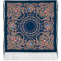 Русские сезоны 948-14, павлопосадский платок (шаль) из уплотненной шерсти с шелковой вязанной бахромой, фото 1