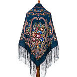 Русские сезоны 948-14, павлопосадский платок (шаль) из уплотненной шерсти с шелковой вязанной бахромой, фото 2