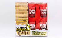 Дженга пьяная башня Drunken Tower Jenga, деревянные блоки-60шт., стеклянные стопки-4шт. (GB076-1B)