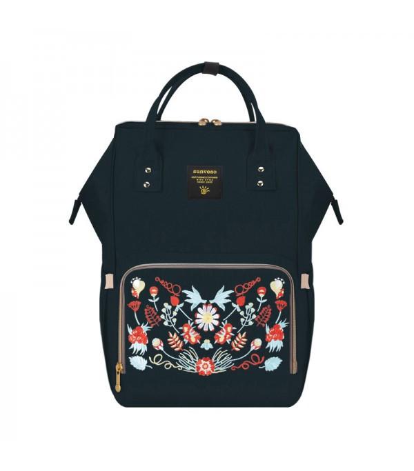 Рюкзак для мам Sunveno Black Embroidery Оригинал с Вышивкой и супер функциями