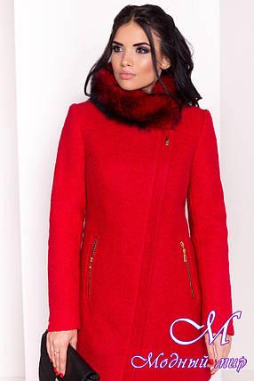 10f15671c4489 Красное женское зимнее пальто р. S, M, L арт. Эльпассо букле песец ...