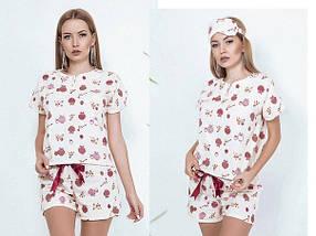 """Байковый женский комплект для сна """"MI-MI"""" с шортами и маской (3 цвета), фото 2"""