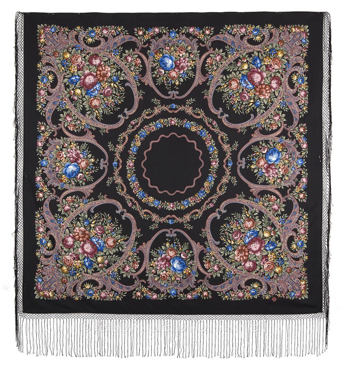 Русские сезоны 948-19, павлопосадский платок (шаль) из уплотненной шерсти с шелковой вязанной бахромой