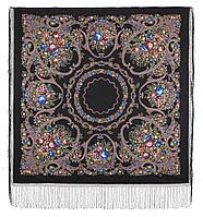 Русские сезоны 948-19, павлопосадский платок (шаль) из уплотненной шерсти с шелковой вязанной бахромой, фото 1