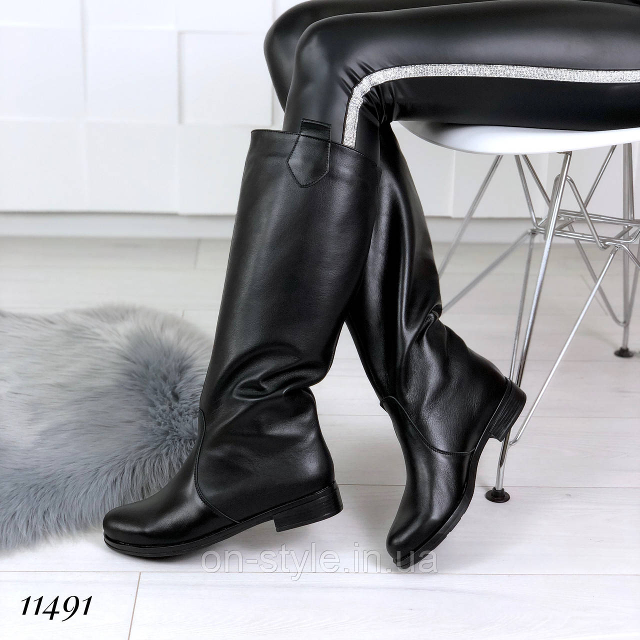 Женские зимние кожаные сапоги трубы - Интернет-магазин