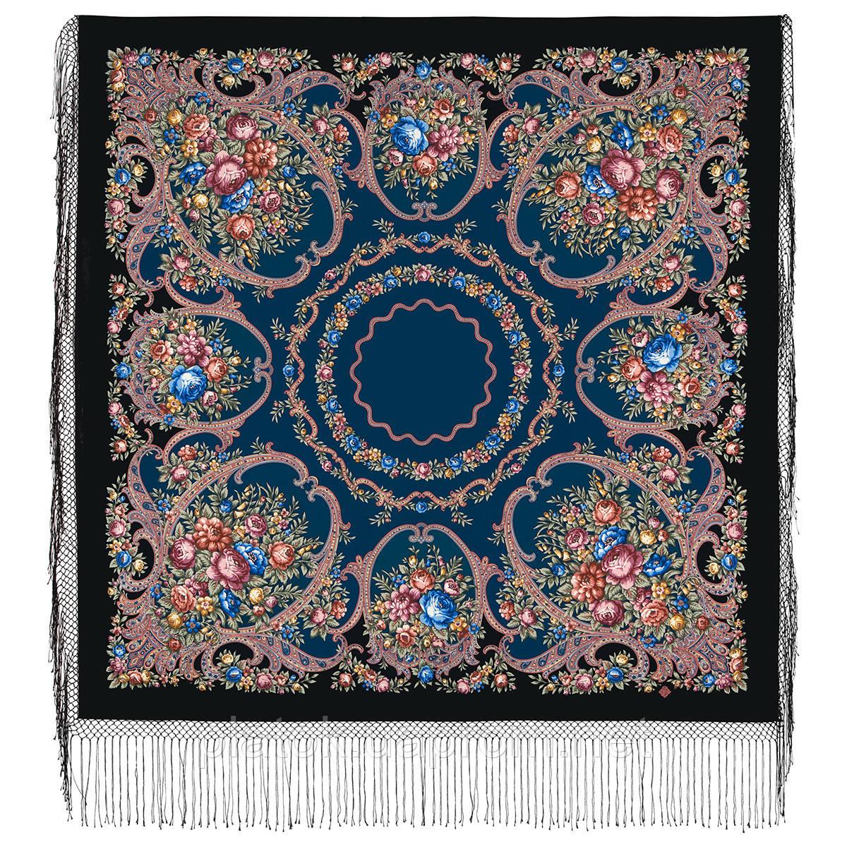 Русские сезоны 948-18, павлопосадский платок (шаль) из уплотненной шерсти с шелковой вязанной бахромой