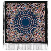 Русские сезоны 948-18, павлопосадский платок (шаль) из уплотненной шерсти с шелковой вязанной бахромой, фото 1
