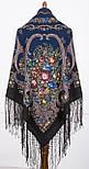 Русские сезоны 948-18, павлопосадский платок (шаль) из уплотненной шерсти с шелковой вязанной бахромой, фото 3
