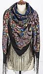 Русские сезоны 948-18, павлопосадский платок (шаль) из уплотненной шерсти с шелковой вязанной бахромой, фото 2