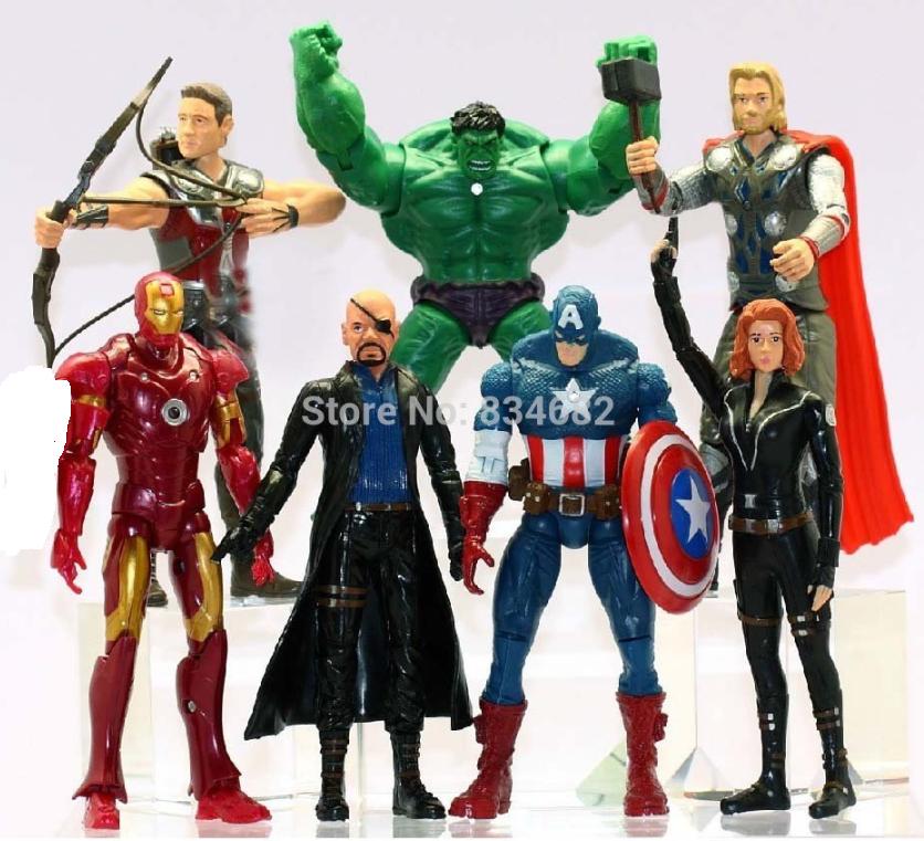 Набор Марвел 7 шт. 15.5 см. Мстители Халк Тор Капитан Америка Железный человек+ТАНОС 17 см в подарок.