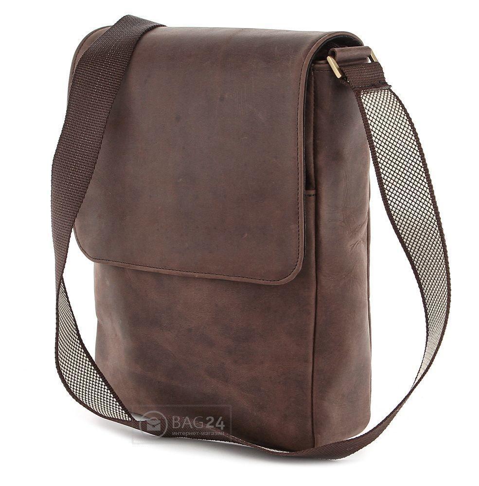 Сумка наплечная SHVIGEL из высококачественной винтажной кожи коричневом  цвете 00751 - Интернет-магазин