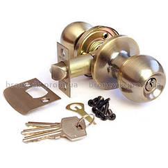 Ручка защелка Avers 6072-01-АВ с фиксацией+ключи (Бронза)