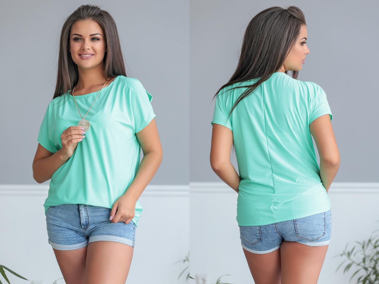 """Летняя женская блуза """"REVO"""" с коротким рукавом (большие размеры)"""