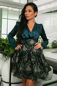 Женское Платье (141)710, (3 цвета). Ткань: турецкая органза + шёлк арман. Размеры :42,44,46,48,50.