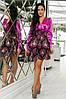 Женское Платье (141)710, (3 цвета). Ткань: турецкая органза + шёлк арман. Размеры :42,44,46,48,50., фото 2